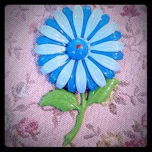 Vintage blue enamel flower power pin